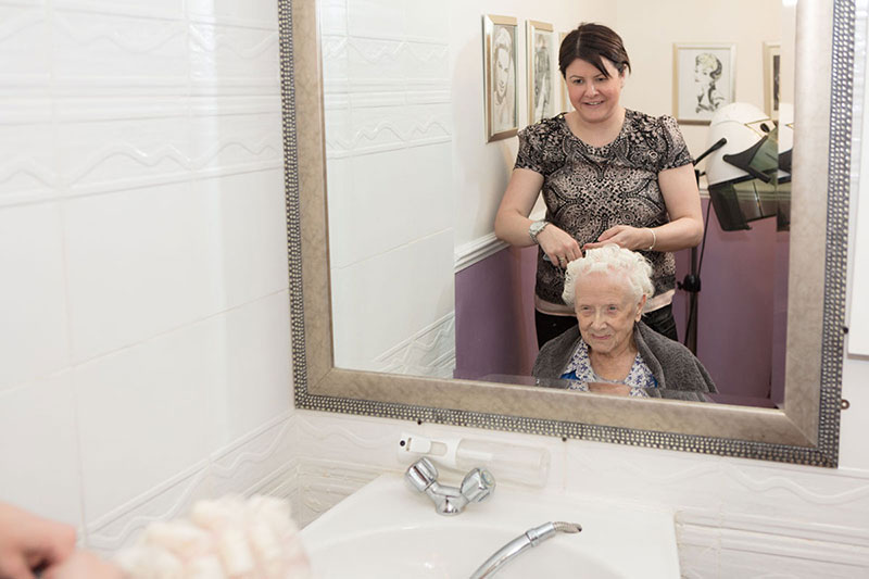 Lukestone Resident at Hair Salon