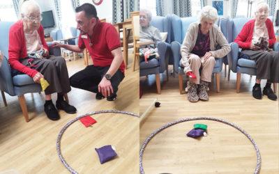 Indoor floor games at Lukestone Care Home
