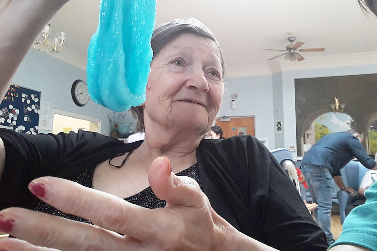 Lukestone Care Home residents have fun making slime