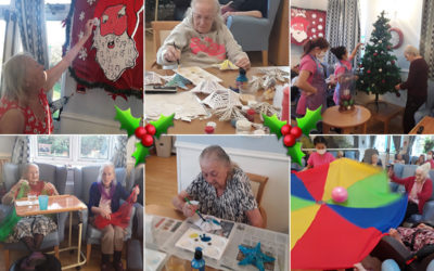 Making Christmas decorations  and an advent calendar at Lukestone Care Home