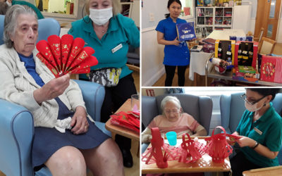 Making decorations and a raffle for staff at Lukestone Care Home