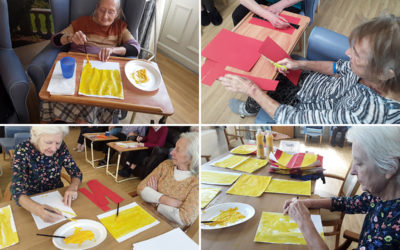 Seated games and preparing for Spain at Lukestone Care Home
